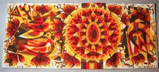 """Jean Claude Bissery – Woven wool tapestry """"Soleil Rouge"""""""