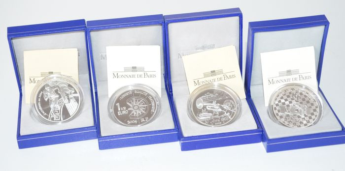 France – 1½ Euro 2003, 2004 and 2007 (total 4 coins) – silver