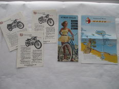 Nyman Sweden - original set of 5 old leaflets of Nyman engines, bicycles and outboard motors - circa 1955