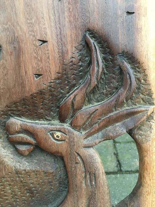 Large chair piece wood carved animal figures catawiki