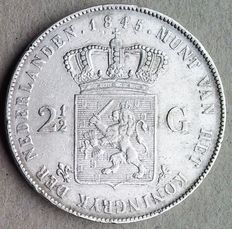 The Netherlands – 2½ guilders 1845, Willem II – silver.