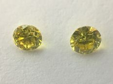 A pair of brilliant cut diamonds, 0.16 ct, VS