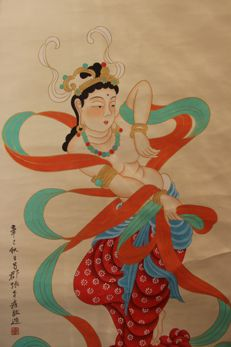 Hand-painting scroll painting (reproduction Zhang Daqian)《敦煌礼佛图》 - China - late 20th century