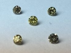 Lot with 5 brilliant cut diamonds 0.14 ct VS2