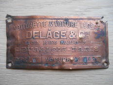 Authentic copper identification plate of Delage type II from approx. 1920
