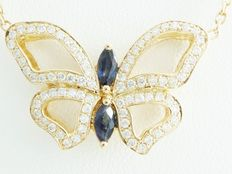 Rose gold butterfly pendant set with 75 diamonds, 0.50 ct in total, and a blue sapphire of 0.40 ct – no reserve price