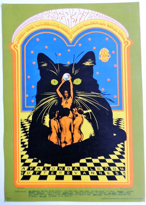 "Rare psychedelic ""Canned Heat"" Dance Concert Poster San Francisco 1967"
