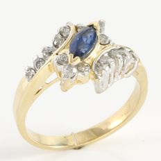 14kt Yellow Gold Ring  Set with Diamonds and Sapphire