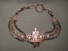 Antique silver-coloured watch necklace with enamelled boat