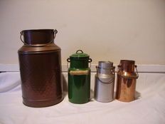 lot of 4  milk pots /copper / aluminium / enamelled metal.