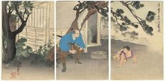 Large original triptych woodcut by Migita Toshihide (1863 - 1925) - Japan - 1908