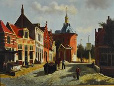 Bert Veger (1940-) - A street scene with figures.