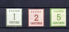 France 1870/71 - Stamps from Alsace Lorraine including signed Calves with number certificate - Yvert no. 1, 2, 4