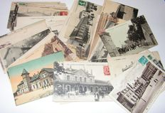 France - railways - stations - 100 cards with illustrations of station buildings.
