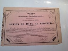 France share of 30 francs to the bearer of 1827