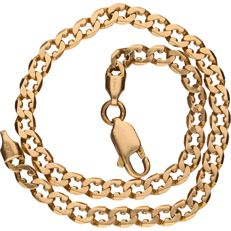 Yellow gold curb link bracelet in 14 kt - 21 cm