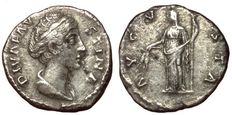 Roman Empire - Diva Faustina I (died 141 AD), wife of Antoninus Pius - AR Denarius (17,5 mm; 3,00 g), after 141 AD - Rome mint - Bust / Ceres - RIC 360