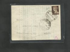 Italian Social Republic, 1943 - GNR Brescia, 10 cent used on letter from Manerbio to Milan Sassone Catalogue no.: 471/I