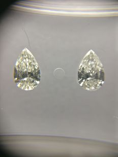 Lot of 2 Pear cut diamonds total 0.41 ct D VVS2-VS1