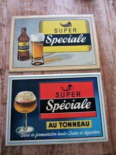 2 Advertising signs/tin- '  Super speciale ' - 1957 and 1958