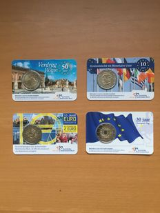 The Netherlands – 2 Euro 2007, 2009, 2012 and 2015 (4 different ones) in Coin cards