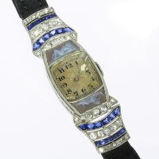 Platinum Art Deco Movado ladies' watch with diamonds, sapphires and two cameos with artistic nude of women
