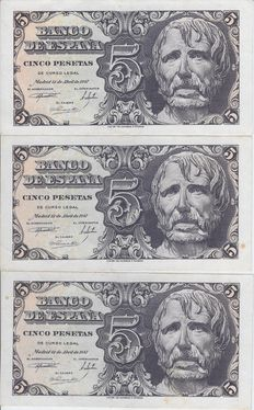 Spain - 3x 5 pesetas, 1947 - Series C - Pick 134