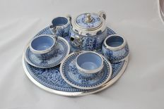 Blue and white china and silver tea service for 2. Circa 1870. London
