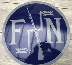 Beautiful enamel sign of FN weapons factory FN!
