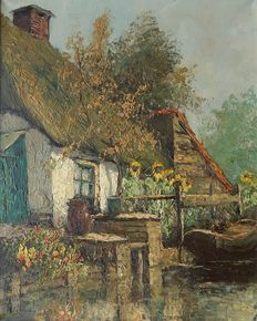 Unknown (20th century) - House with garden on the water