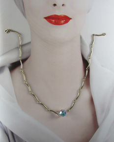 Vintage (1970s) - Signed Sarah Coventry -  USA –  Gold Plated Link style Choker with AB Dangle - NO Reserve