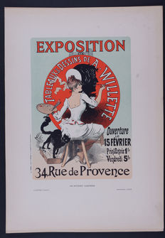 Jules Cheret  - 'Exposition Willette' original small lithograph poster from the 'Les Affiches Illustrées' series