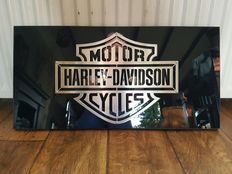 Harley Davidson advertising sign - stainless steel bar and shield on high gloss black panel - second half of the 20th century