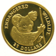 "Cook Islands – 25 dollars 1991 ""Koala"" – 1/25 oz of gold."