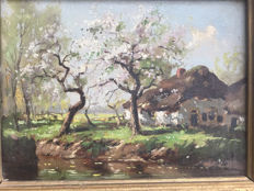 Unknown (20th century) - Farm with flowering fruit trees,