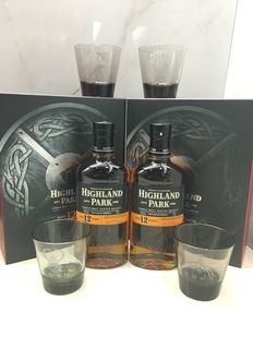 Highland Park Valhalla Whisky Glass Set of 4 with 2 bottles of Highland Park 12 Year Old