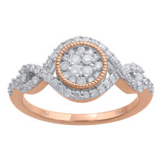 No reserve . Brand New 18kt pink gold cluster and knot diamond ring.  0.51ct of GH/P3 brilliant cut diamonds.