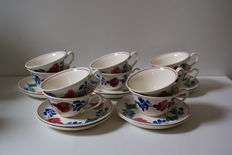 10 Farmers cups and saucers circa 1964,