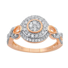 No reserve. Brand new diamond studded fashion cluster ring in 18kt pink gold. Has 0.55ct of brillaint cut round diamonds with GH/P3 qualilty.