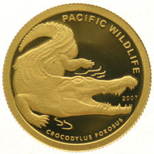Palau – Dollar 2007 Crocodylus Parasus , 1/25 oz. gold