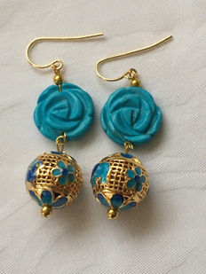 Yellow gold earrings with a rose, carved out of turquoise and openwork cloisonné sphere