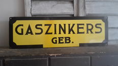 Indication plate-Gaszinkers-second half 20th century