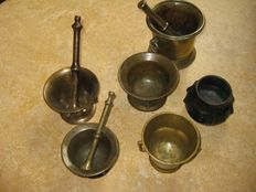 Six copper/bronze mortars -Europe-18th/19th century.