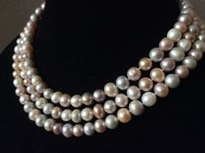 Necklace with natural fresh water baroque pearls with rings