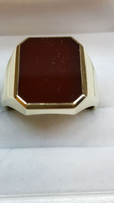 Signet ring by the Anjer brand, solid, set with carnelian – size 19