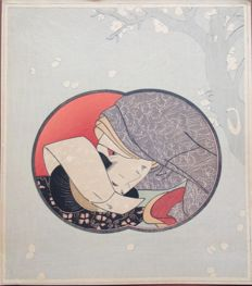 Pillow print of a sleeping woman – Japan – 1929.