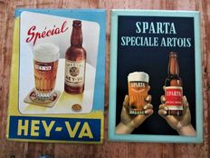 2 advertising signs of metal/tin - 'Sparta Artois' and 'Special Hey-Va' - 1957 and 1954.
