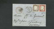 Sardinia, 1855-63 – carmine red 40 cent stamp + grey-brown/olive 10 cent stamp, postage used on the front of a letter from Turin to Fonteny