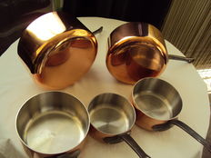 Set of five tinned copper pans, professional, 20th century, TOURNUS FRANCE (new)