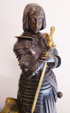 After Marie Christine d'Orleans (1813 - 1839) - bronze statue of Joan of Arc - early 20th century